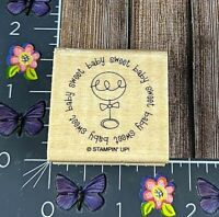 Stampin' Up! Sweet Baby Rattle Rubber Stamp Circle Shower Announcement Wood #M66