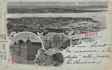2722) UN SALUTO DA TRIESTE GRUSS AUS TRIESTE PANORAMA E 3 VEDUTINE VG NEL 1898.