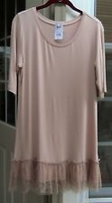 LOGO BY LORI GOLDSTEIN BLUSH PINK ? KNIT TOP WITH GATHERED LACE HEM ~ S