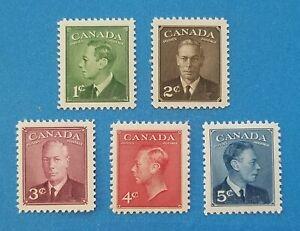 Canada Scott #284-288 MNH very well centered good original gum. Good margins.