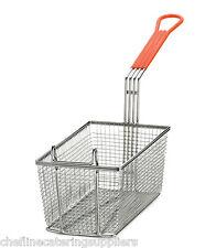 Heavy Duty Rectangular Professional Fry Basket, with Hook,Orange Handle Deep Fry