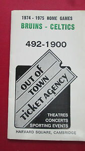 BOSTON BRUINS/CELTICS-1974-1975 OUT OF TOWN TICKET AGENCY SCHEDULEW/GARDEN MAP