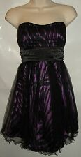TABOO Strapless Purple &Black Zebra Print Grad Formal Holiday Dress Women Jr 3-6
