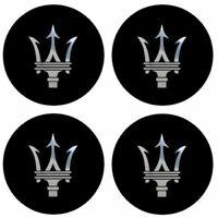 4 adhésifs stickers MASERATI noir logo chrome 40 à 100 MM pour centre de jantes
