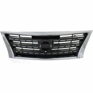 for 2013 2015 Nissan Sentra Front Grille Sport Type Dark Silver/Black W/ Chrome