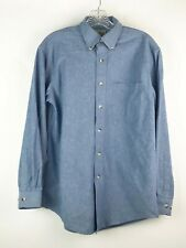 L.L. Bean Mens Button Front Shirt Small Long Sleeve Collared 100% Cotton Denim