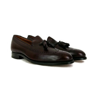 JOHNSTON & MURPHY Mens 11 B Aristocraft Burgundy Leather Wingtip Tassel Loafers