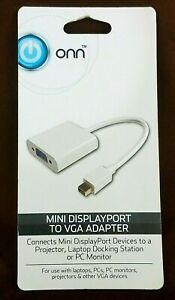ONN ONA17AV052 Mini DisplayPort to VGA Adapter Mini DP to VGA Display White