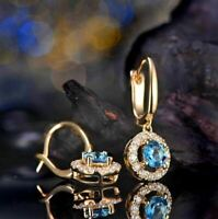 4Ct Round Cut Blue Topaz Gorgeous Drop & Dangle Earrings 14K Yellow Gold Finish