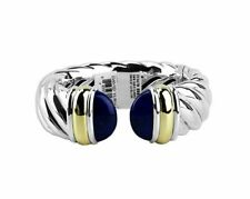 David Yurman XL Classic Cable 25mm Cuff Bracelet Silver 18k Gold Lapis Sz M