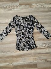 inc international concepts Mesh Black Floral Blouse Top Small