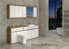 OAK / WHITE GLOSS BATHROOM FITTED FURNITURE WITH WALL UNITS 2100MM