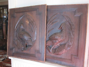 pair off black forest panels: antiques french wood carving  hunting
