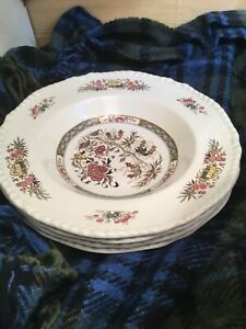 Set Of 4 Adams Wedgwood Jeddo Luncheon Plates/ Shallow Bowl