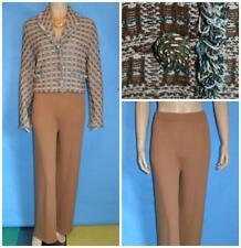 St. John Collection Knits Brown Cream Jacket Pants L 10 12 2pc Suit Fringes