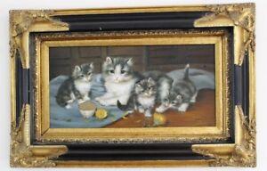 "Ölgemälde Katzenfamilie signiert "" Ernst E. Bohn "" 57x37 cm painting 1994 Katze"