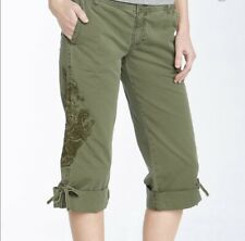 Lucky Brand Mid Rise Embroidered Bird Floral Capri