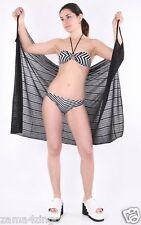 Damen Wickelkleid Strandkleid Sarong Bikini Pareo Badetuch Sommerkleid schwarz
