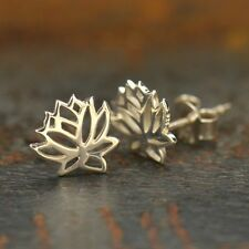 Sterling Silver .925 Tiny Small Open Lotus Flower Studs Stud Post Earrings