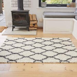Cream & Grey Shaggy Rugs Deep 3cm Shaggy Runner Moroccan Trellis Living Room Rug