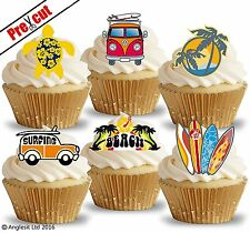 PRE-CUT SURFING BEACH HOLIDAY EDIBLE WAFER PAPER CUP CAKE TOPPERS DECORATIONS