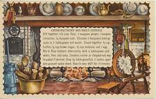VINTAGE COLONIAL COOKING MOLASSES COOKIES RECIPE PRINT 1 CHRISTMAS VILLAGE CARD