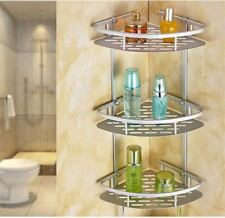 3 Tier Bathroom Corner Shelf Caddies Wall Hung Basket Storage Triangle Caddy