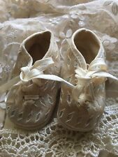 Vintage Doll / Baby Girl Beige & Silver CRIB SHOES Booties Newborn