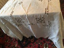 Vintage Linen Tablecloths Cutwork, Crocheted, Banquet Size-Set Of 2