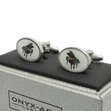 Bugle Novelty Cufflinks Rhodium Finish in Onyx Art of London Presentation Gift
