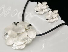 white leaves inspired enamel silver plated pendant necklace clip earrings N50