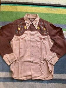Genuine 40s Vintage Playboy bespoke Embroidered Western Shirt size L