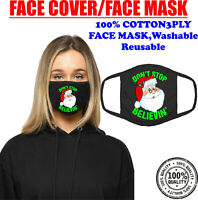 Funny Don't Stop Believin' Santa Christmas Face Mask Xmas Gift Festive Holiday