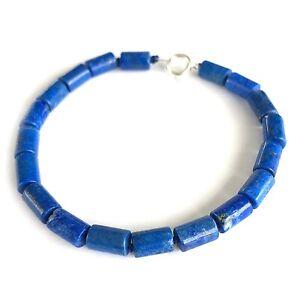 "Lapis Lazuli Tube Bead Bracelet Hand Knotted Silk Handmade Beaded Gemstone 7.25"""