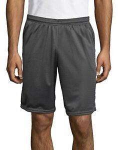 "Hanes Sport Men Mesh Shorts with Pockets Gym Workout 9"" inseam sz S-2XL 4 Colors"
