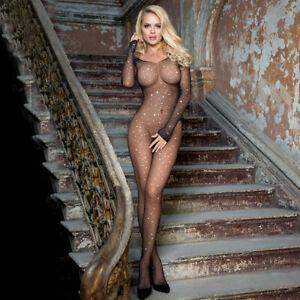 SEXY Sparkling BODYSTOCKING Lingerie with Diamante DAZZLING Black 8 10 12 14 16
