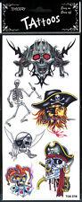 6 tatouages de pirate têtes de morts, têtes de dragon, squelette [208809tetedr]