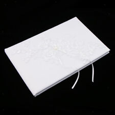 Wedding Ceremony Party Guest Book Pearls Lace Flower Applique Guestbook White