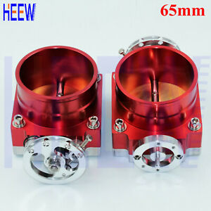 "Universal High Flow 80MM 3.15"" Throttle Body Aluminum Intake Manifold RED 2PCS"