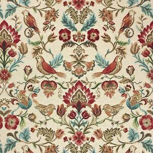 Tapestry Fabric William Bird Floral Upholstery Furnishings Curtains 140cm Wide
