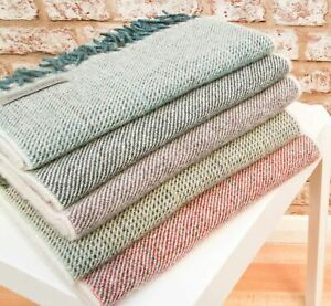 Beautiful Laura's Loom 100% British Wool Scarves Blue or Green Made in Yorkshire