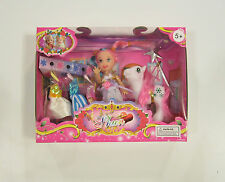 "1 NEW DOLL AND PONY SET 4"" SIZE EXTRA DRESSES AND WAND GIRLS KIDS PLAYYSET"