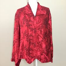 Liz Baker Plus Size Women's Size 20W Blouse Red Silky Floral Long Sleeve Holiday
