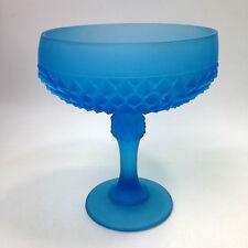 Vintage BLUE FROSTED GLASS Pedestal Bowl