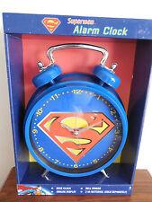 SUPERMAN TWIN BELL LARGE ALARM CLOCK DC COMICS NEW IN BOX