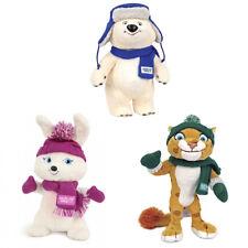 Set of Plush Mascots in Hats Sochi 2014 Olympic Games Polar Bear Leopard Hare