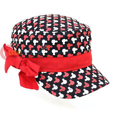 Disney Mickey Mouse All Over Military Hat with Red Bow - Kids Junior Hat