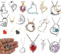 HEART NECKLACES Chain Pendant Vintage Antique Alloy Jewellery Diamanté Valentine