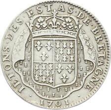 O3719 RARE R2 Jeton Louis XIV Etats Bretagne Nantes 1701 Argent Silver