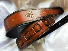 Lovely hand-made hand-carved leather guitar strap. Sale!!